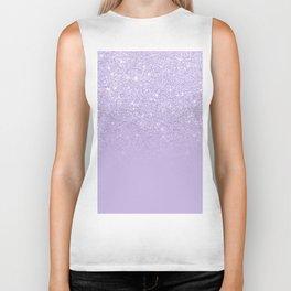 Stylish purple lavender glitter ombre color block Biker Tank