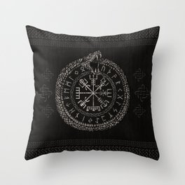 Vegvisir with Ouroboros and runes Throw Pillow