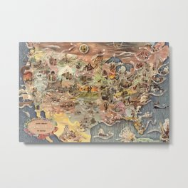 History of America Pictorial State map of Historical Events landscape painting by Aaron Bohrod Metal Print