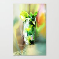 cocktail Canvas Prints featuring cocktail by tatiana-teni