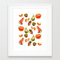 fruits Framed Art Prints featuring Fruits by Jenny Viljaniemi