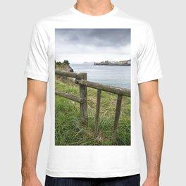 Detail of wooden railing on a walk along the beach T-shirt