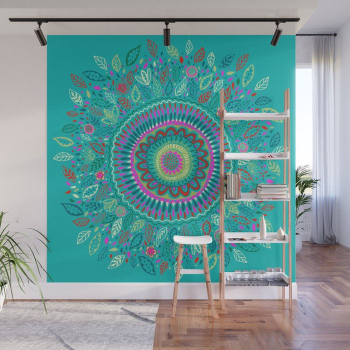 Leafy Turquoise Mandala Wall Mural
