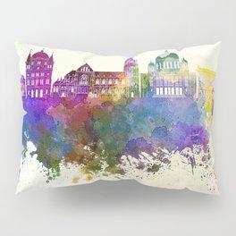Lodz skyline in watercolor background Pillow Sham