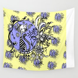 Blue and Yellow Cat Pattern Wall Tapestry
