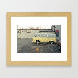 Fenced Bus. Framed Art Print