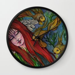 angel and goldfish Wall Clock