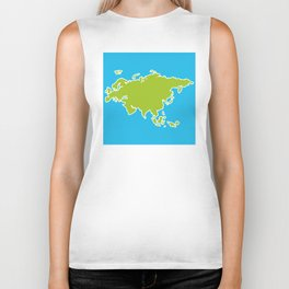 Eurasia map green continent  on blue background Biker Tank