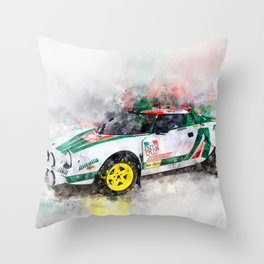 Lancia Stratos HF Rallye Throw Pillow
