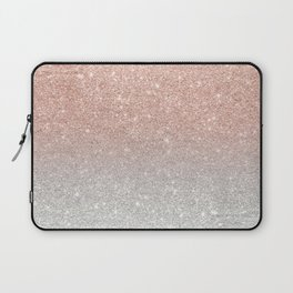 Modern trendy rose gold glitter ombre silver glitter Laptop Sleeve