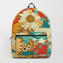 Red, Orange, Turquoise & Brown Retro Floral Pattern Backpack