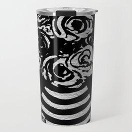 Crinkled Roses in Black & White Striped Vase Travel Mug