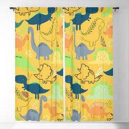 Dinosaur doodle yellow background Blackout Curtain