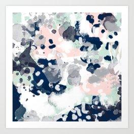 Melia - abstract minimal painting acrylic watercolor nursery mint navy pink Art Print