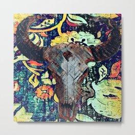 Cow Skull Floral Metal Print