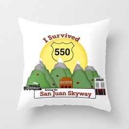 I Survived Hwy 550 Durango, Silverton & Ouray Colorado Throw Pillow