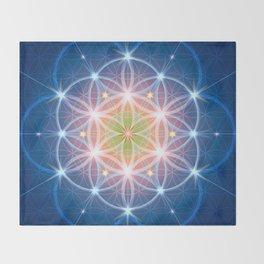 Blue Flower of Life Throw Blanket