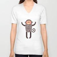 monkey V-neck T-shirts featuring Monkey by Anna Alekseeva kostolom3000