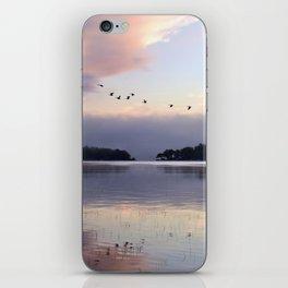 Uplifting II: Geese Rise at Dawn on Lake George iPhone Skin