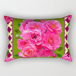 VIBRANT PINK ROSES ON MOSS GREEN PATTERN Rectangular Pillow