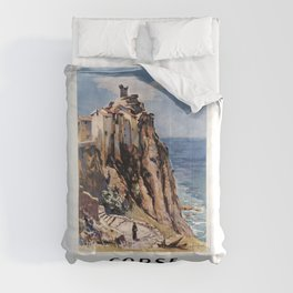 vintage travel poster corse Comforters
