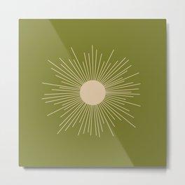 Mid-Century Modern Sunburst II - Minimalist Sun in Mid Mod Beige and Olive Green Metal Print