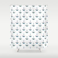 anchors Shower Curtains featuring Anchors by Zen and Chic