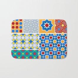 Moroccan pattern, Morocco. Patchwork mosaic with traditional folk geometric ornament. Tribal orienta Bath Mat