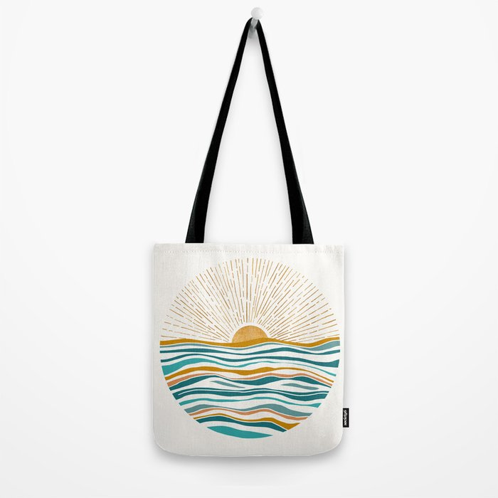 The Sun and The Sea - Gold and Teal Tote Bag