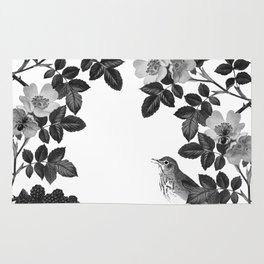 Birds and the Bees Black and White Rug