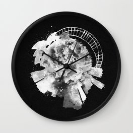 Sydney, Australia Black and White Skyround / Skyline Watercolor Painting (Inverted Version) Wall Clock