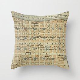 Vintage Savannah GA Map (1904) Throw Pillow