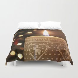 Christmas candle vertical Duvet Cover
