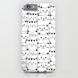 Lots of cats, cats, pattern, cat print, nursery, cats nursery, cat wall art iPhone Case