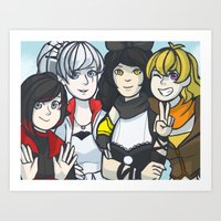 rwby Art Prints featuring Team RWBY by magoberry