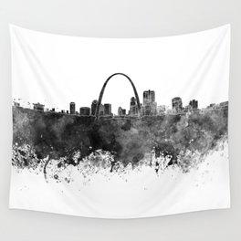 St Louis skyline in black watercolor Wall Tapestry
