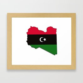 Libya Map with Libyan Flag Framed Art Print