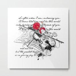 Violin and morning glory Metal Print