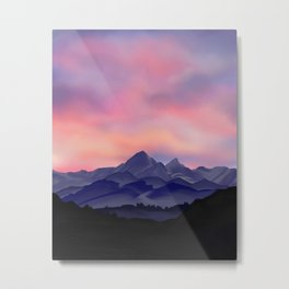 sunset and mountains Metal Print