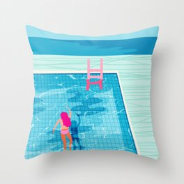 In Deep - memphis throwback swimming athlete palm springs resort vacation country club infinity pool Throw Pillow