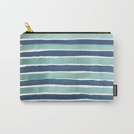 Aqua Teal Stripe Carry-All Pouch