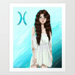 Pisces Zodiac Girl Art Print