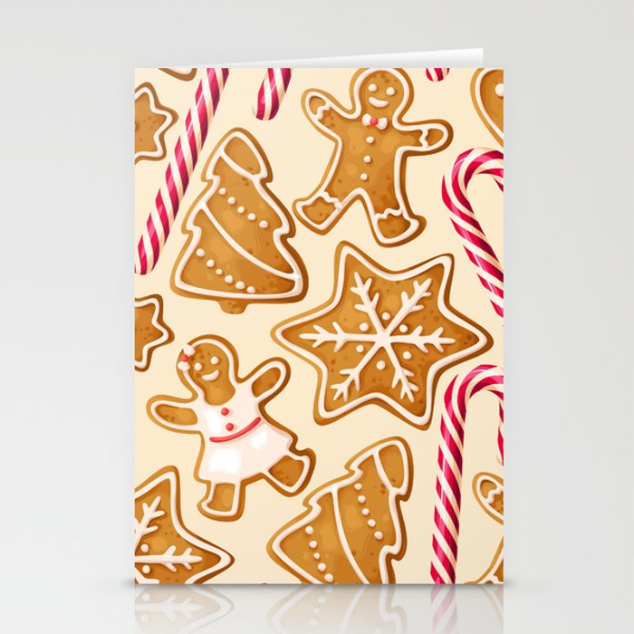Gingerbread Cookies & Candy Canes Stationery Cards