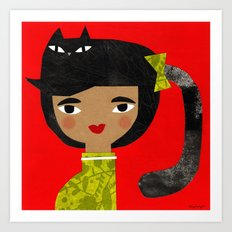 BLACK PONY TAIL Art Print