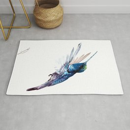 Hummingbird, Navy Blue Turquoise Artwork, minimalist bird art blue Rug
