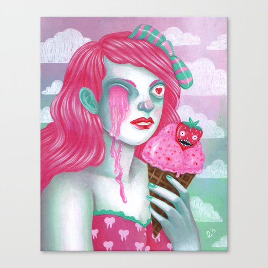 strawberry eye scream Canvas Print