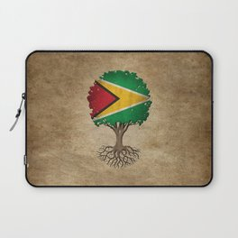 Vintage Tree of Life with Flag of Guyana Laptop Sleeve