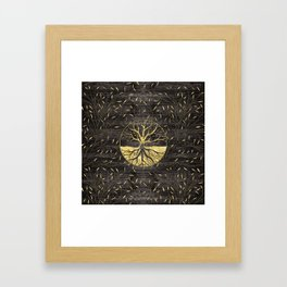 Golden Tree of life on wooden texture Framed Art Print