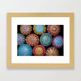 Colorful Mandala painted stones Framed Art Print