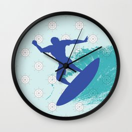 Surf, sea, surfing, marine, sea, summer, blue , nautical Wall Clock